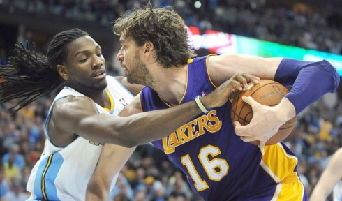 lakers nuggets gasol faried