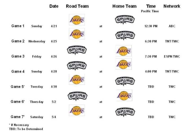 Los Angeles Lakers v San Antonio Spurs First Round Schedule