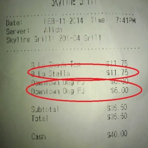 Receipt for 2 beers (Stella was mine, premium beer) and 2 hot dogs.  Photo: Raining3s.com