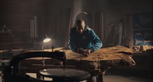 Kobe starts the process of building a Piano by working down a carefully selected piece of  wood in his new Nike commercial.